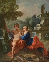 Circle of Francois Lemoyne (French, 1688-1737) - Mythological scene with lovers depicted as Apollo and Daphne