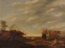 Hendrick Mommers (Dutch 1623-1693) - Landscape with a milkmaid