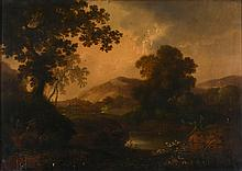 Follower of George Smith of Chichester - Two figures beside a lake