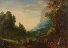 Flemish School (17th century) - Travellers in a landscape