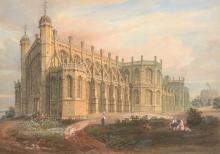 English School (19th century) - St George's Chapel, Windsor from the South East; St George's Chapel, Windsor from the West side