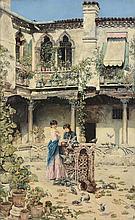 Jose Gallegos Y Arnosa (Spanish 1859-1917) - Feeding the pigeons
