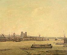 George Graham (British, 1882-1949) - View of Rochester Harbour