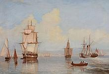Follower of Henry Redmore (British, 1820-1887) - Sailing ships in a harbour