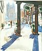 Desmond Rosser Smith (20th century) Street scene Pencil and watercolour Signed lower centre right 44cm x 36.5cm Ken Messer (20th century) Barns Pencil and watercolour Signed lower right 25cm x 27. 5cm and Anthony Baynes (20th century) Venice Acrylic