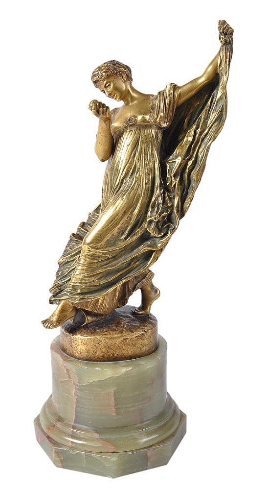 A French Art Nouveau gilt bronze figure 'Danseuse