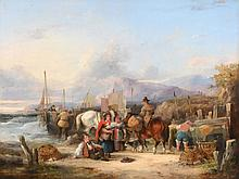 William Shayer (1787-1879) - Bringing in the day's catch; Fisher-folk on the coast