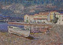 Jordi Freixas Cortes (1917-1984) - Boat docked in the bay