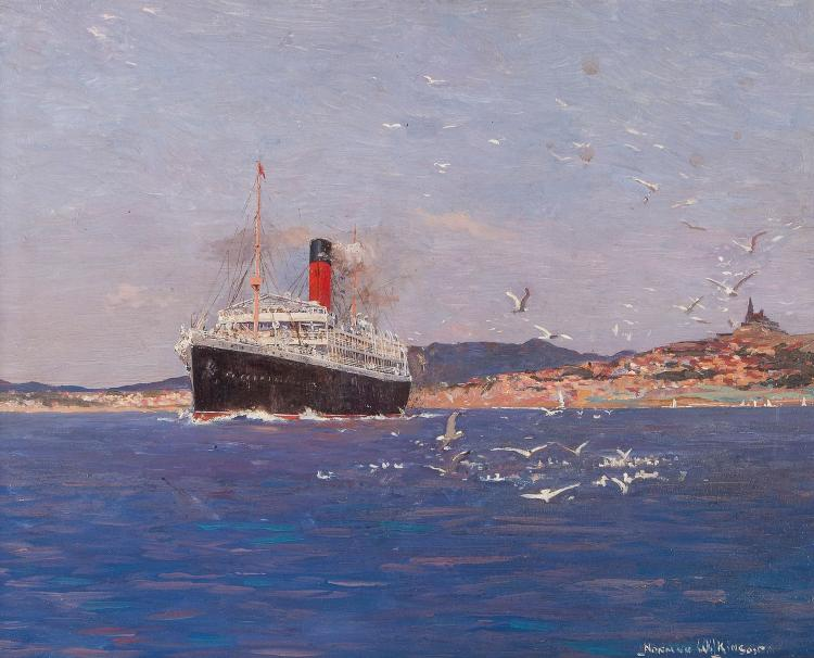 Norman Wilkinson (1871-1971) - Cunard Steamer off the coast