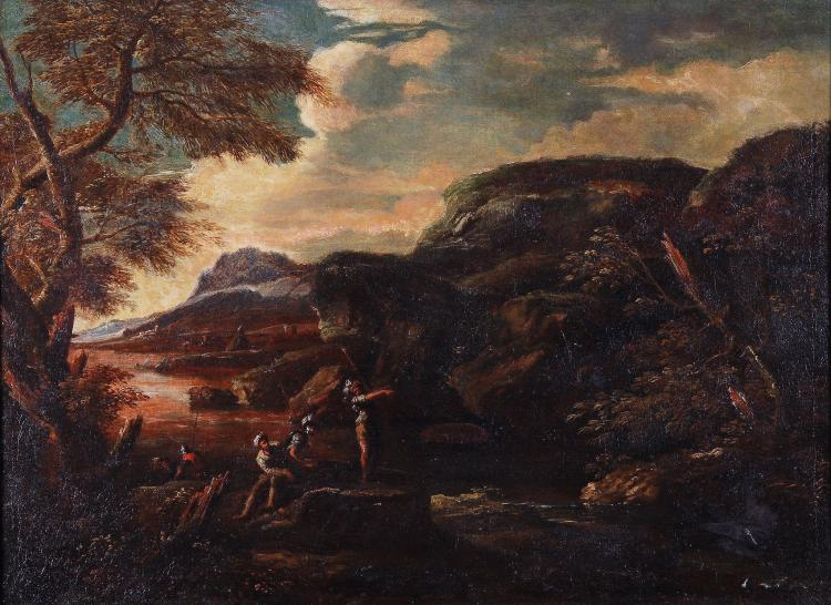 Attributed to Bartolomeo Torregiani (1590-1675) - A rocky river landscape with banditti