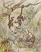 August Specht (b. 1849). Monkeys at play., August Specht, Click for value