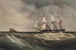 Attributed to Charles Taylor Jnr. East Indiaman in