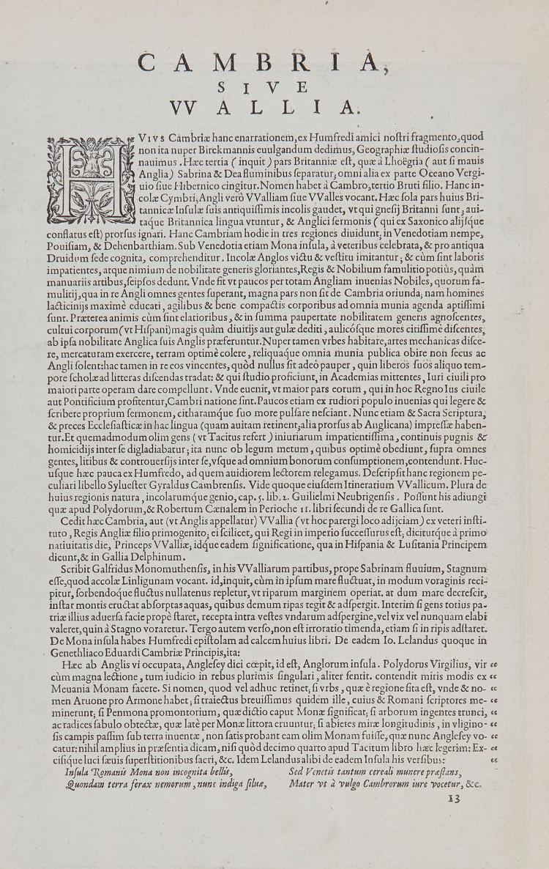 Ortelius (Abraham) - Cambriae Typus Auctore Humfredo Lhuydo,