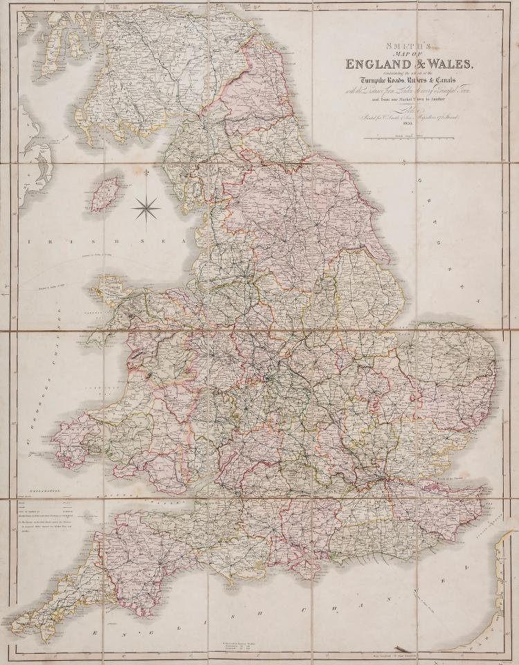 Smith (Charles) - Smith's Map of England & Wales Containing the whole of the Turnpike Roads, Rivers & Canals...,