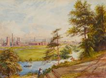 Warren (Henry) Attributed to. - A view of Burton upon Trent around 1870,