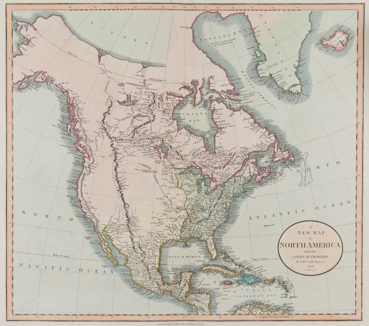 Cary (John) - A New Map of North America from the latest authorities,