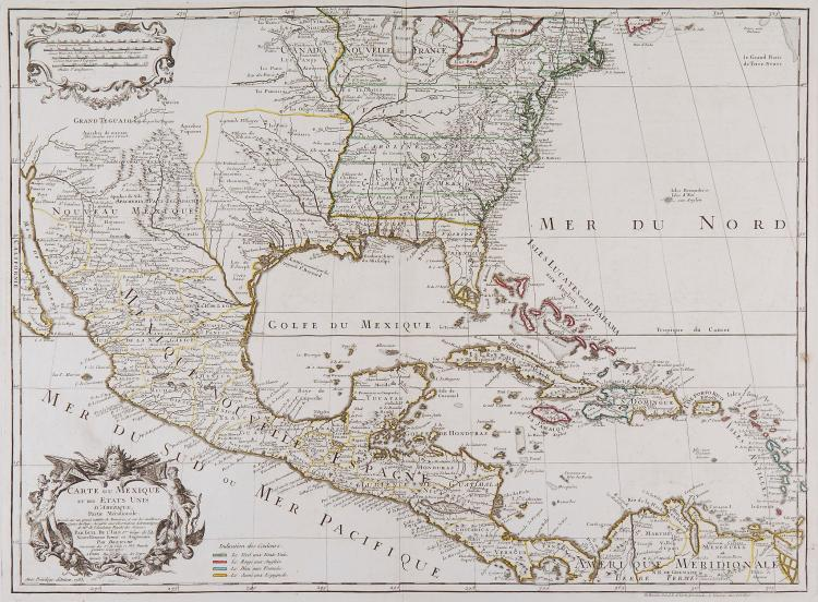 Dezauche (J.A.) - Carte du Mexique et des Etats Unis d'Amérique, Partie Méridionale,