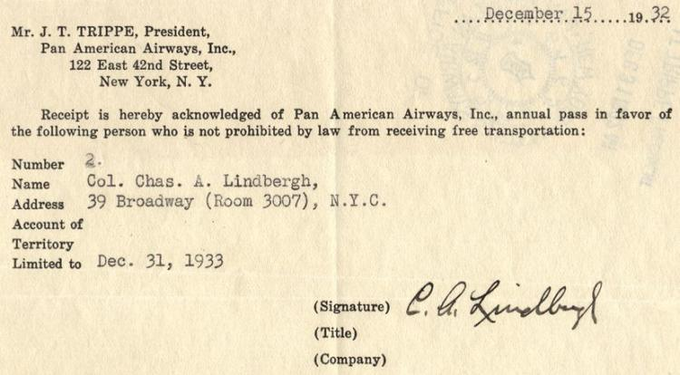 Lindbergh (Charles) - Receipt signed for an annual free pass from Juan Trippe of Pan...