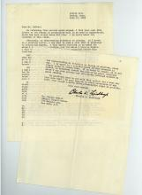Lindbergh (Charles) - Typed letter signed to Mr Nelson Buhler, concerning the Baruch...