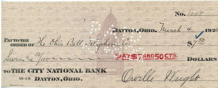 Wright (Orville) - Cheque signed for the sum of $7.50 payable to the Ohio Bell...