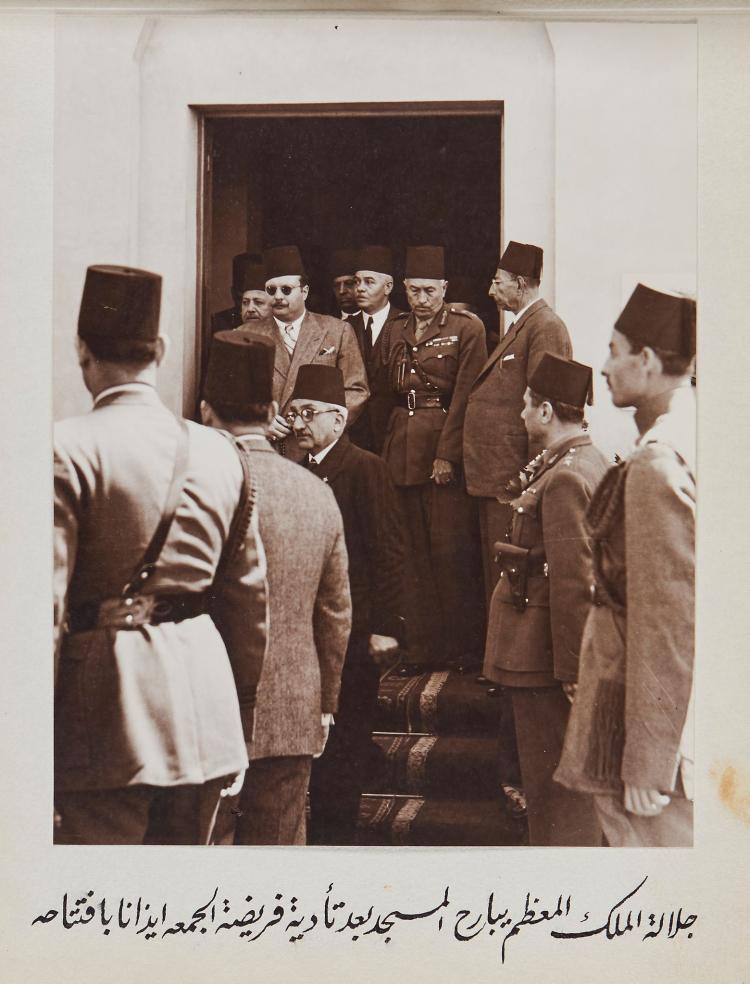 King Farouk of Egypt.- - an album of photographs showing the king, inter alia, laying bricks