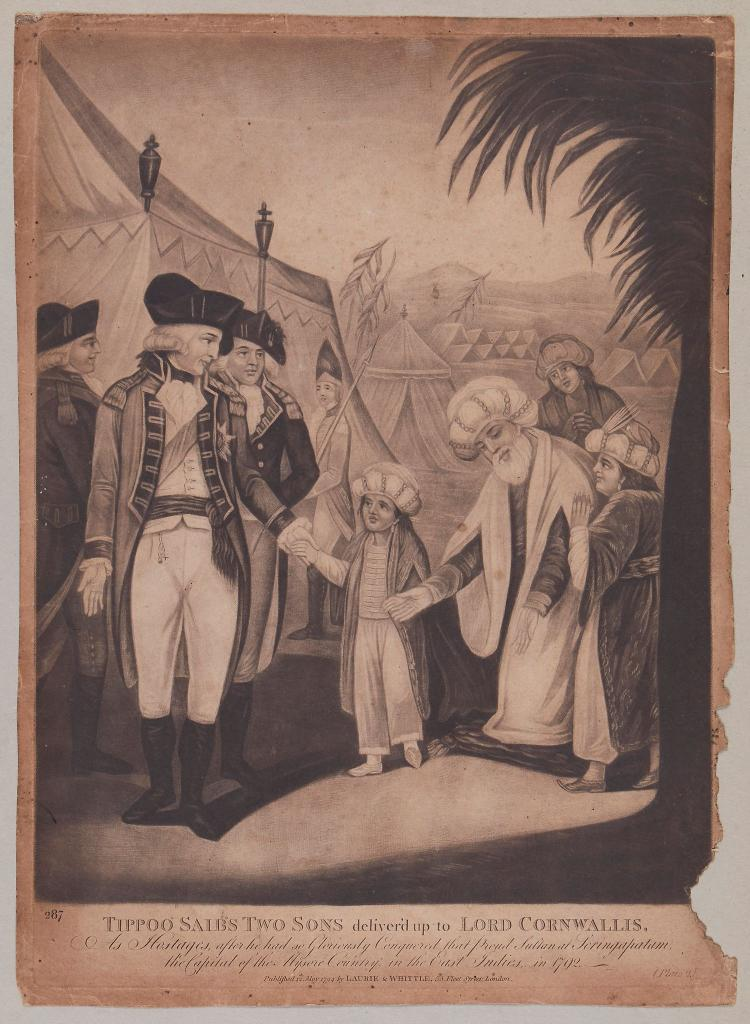 Laurie (Richard Holmes) and James Whittle. - Tippoo Saib's Two Sons deliver'd up to Lord Cornwallis,