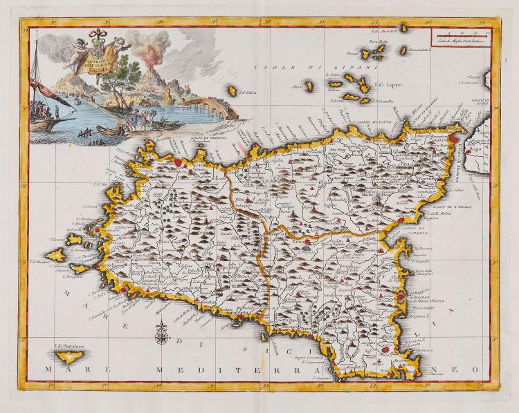Albrizzi (Giovanni Battista) - A group of 7 maps of Italy and islands,