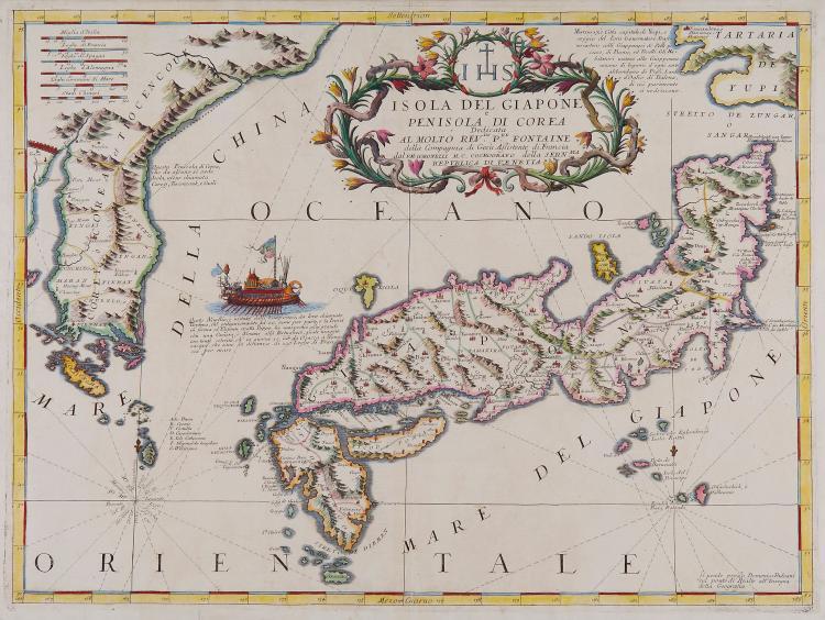 Coronelli (Vincenzo Maria) - Isole del Giapone e Penisola di Corea,