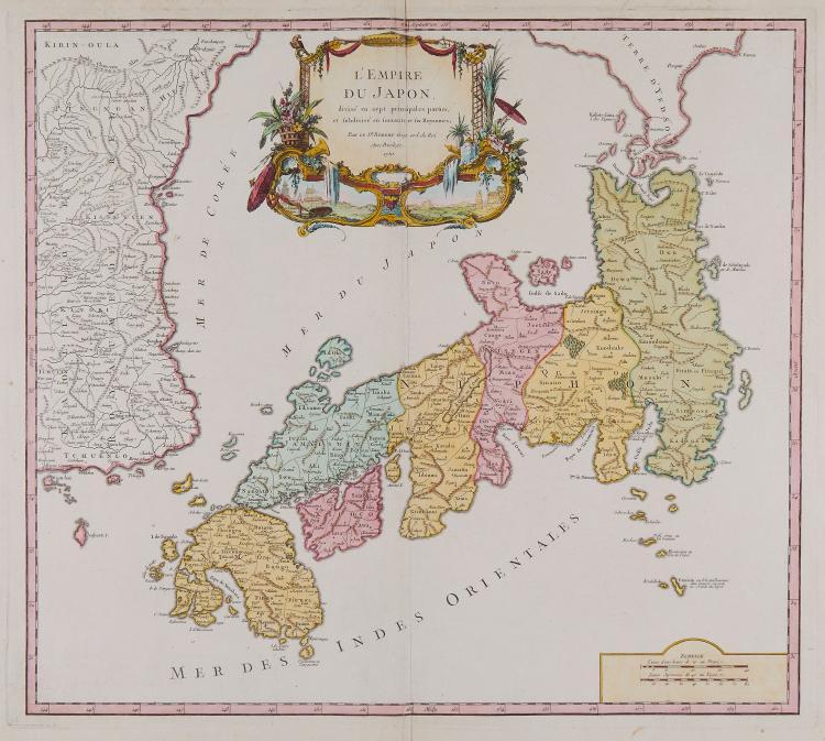 Robert de Vaugondy (Gilles) - L'Empire du Japon divisé en sept principales parties, et subdivisé en soixante et six royaumes,