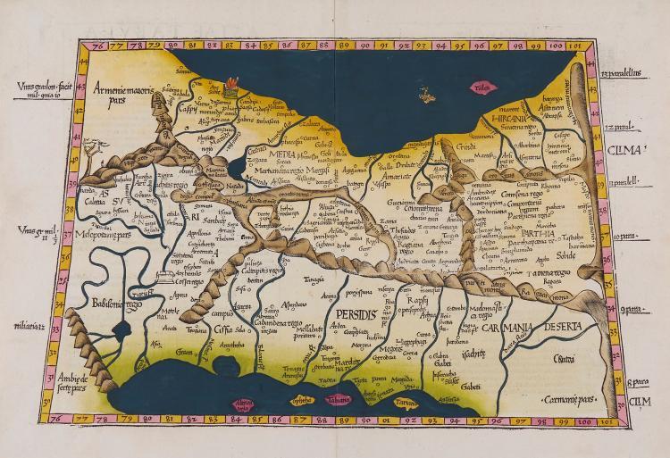 Fries (Lorenz) - Tabu. Nova Asiae Mi.; Asiae Tabula quinta continentur Assyria, Media, Sustana, Persis, Parthia ..,