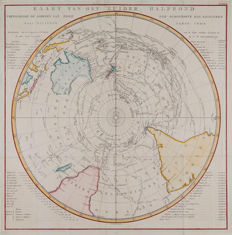 Baarsel (Cornelis van) - Kaart van het Zuider Halfrond...door Kapitein Cook,