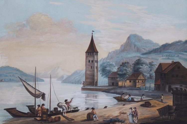 Swiss school.- - 2 landscape scenes, including one possibly of Mount Rigi above Lake Lucerne,