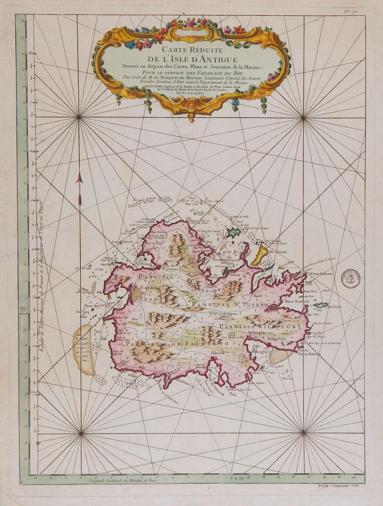 Bellin (Jacques Nicolas) - Carte Reduite de l'Isle d'Antigue Dressee au Depost des Cartes, Plans et Jounaux de la Marine,