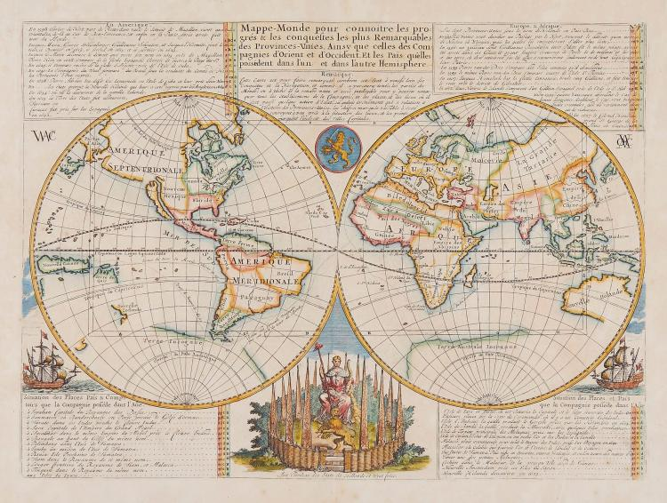 Chatelain (Henri Abraham) - Mappe-Monde pour connoitre les progrés & les conquestes les plus Remarquables des Provinces-Unies,