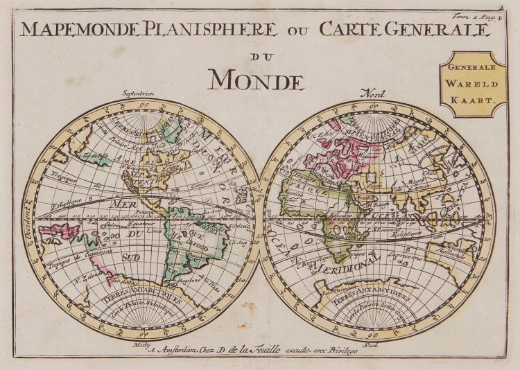 La Feuille (Daniel de) - Mapemonde Planisphere ou Carte Generale du Monde,