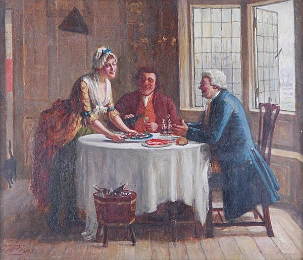 George Fox (1816-1910), A fish supper, Oil on