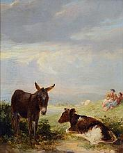 Follower of Sir Edwin Henry Landseer (1802-1873) - Donkey and cow with shepherds in a landscape