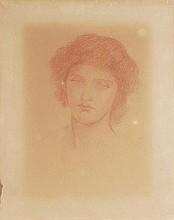 Circle of Dante Gabriel Rosetti. Head study of a