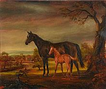 Susan Crawford (b.1941) - Mesopotamia with Foal in a Wooded Landscape