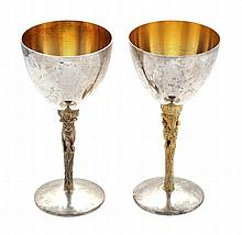 Two silver parcel gilt wine goblets by Stuart Devlin, London 1977 and 1979