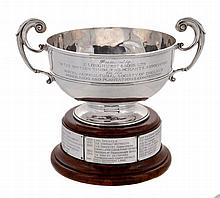 The Longhurst Trophy, a late Victorian silver twin handled cup by Daniel &...