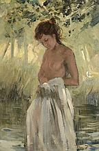 Roy Petley (b. 1951) - Girl by a woodland pool