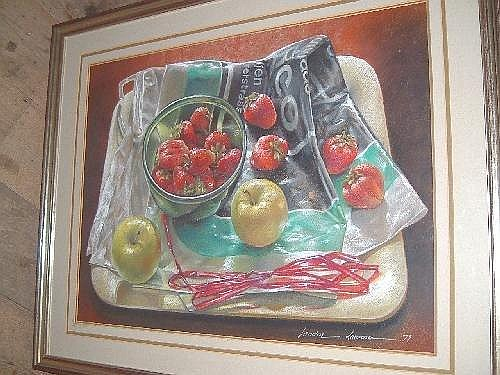 Sandra Lawrence (American, 20th century), Still life of apples and strawberries, Pastel, Signed, 47cm x 62cm.