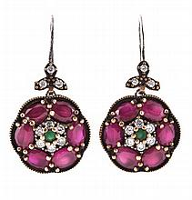 A pair of ruby, emerald and diamond ear pendents,