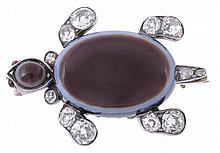 A diamond and banded agate tortoise brooch, the