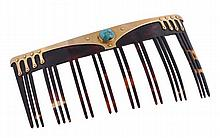 A 15 carat gold, turquoise and tortoiseshell comb,