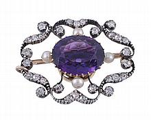 A late Victorian amethyst, diamond and pearl