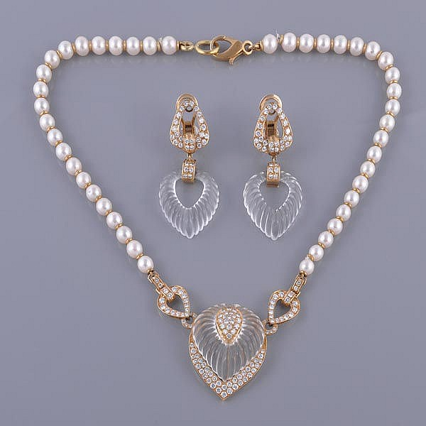 A diamond, rock crystal and pearl necklace and