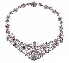 A ruby, diamond and emerald tiara/necklace by