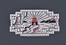 An Art Deco diamond and gem plaque brooch, circa